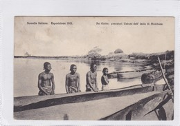 SOMALIA ITALIANA. ESPOSIZIONE 1911. SUL GIUBA: PESCATORI UABONI DELL'ISOLA DI MOMBASA. ETHNIC. CIRCULEE TORINO A- BLEUP - Somalië