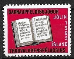 Islande 1965 Vignette De Noël Fondation Thorvalsen - Islande