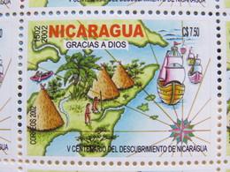 "Nicaragua 2002 MINT 500 Anniversary Discovery Of America - Map Ships Indians Banana ""Gracias A Dios"" - Nicaragua"