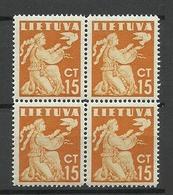 LITAUEN Lithuania 1940 In 4-Block MNH - Lituanie