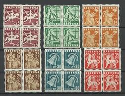 LITAUEN Lithuania 1940 Michel 437 - 442 In 4-Blöcke MNH - Lithuania