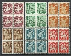 LITAUEN Lithuania 1940 Michel 437 - 442 As 4-blocks MNH - Lithuania