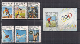 LAOS   SPORT 1983 OLIMPIADI DI LOS ANGELES    YVERT 448-453 + BF 70  USATA  XF - Laos