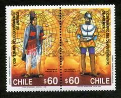 """CHILE ESTAMPILLAS 1990; """"V CENTENARIO DEL DESCUBRIMIENTO DE AMÉRICA"""". - Chile"""