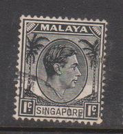 Singapore 1 1948 King George VI Definitives 1c Black, Used - Singapore (1959-...)
