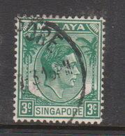 Singapore 3 1948 King George VI Definitives 3c Green, Used - Singapore (1959-...)