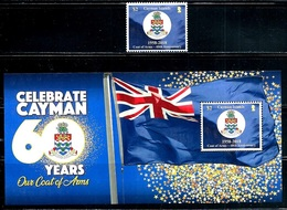 """Cayman Islands """"60th Anniv. Of  Coat Of Arms""""    New Issue   October 19-2018   Set & Souvenir Sheet  MNH - Cayman Islands"""