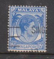 Singapore 8 1948 King George VI Definitives 15c Ultramarine, Used - Singapore (1959-...)