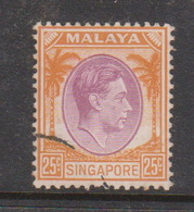 Singapore 10 1948 King George VI Definitives 25c Purple And Orange, Used - Singapore (1959-...)