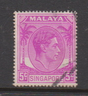 Singapore 21a 1949-52 King George VI Definitives 5c Bright Magenta,used - Singapore (1959-...)