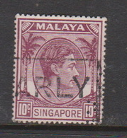 Singapore 24 1949-52 King George VI Definitives 10c Red Purple,used - Singapore (1959-...)