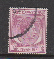 Singapore 24a 1949-52 King George VI Definitives 10c Pale Red Purple,used - Singapore (1959-...)