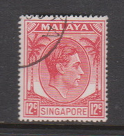 Singapore 25 1949-52 King George VI Definitives 12c Scarlet,used - Singapore (1959-...)