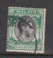 Singapore 27 1949-52 King George VI Definitives 20c Black And Green,used - Singapore (1959-...)