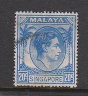 Singapore 28 1949-52 King George VI Definitives 20c Ultramarine,used - Singapore (1959-...)