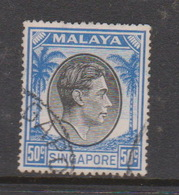 Singapore 32a 1949-52 King George VI Definitives 50c Black And Blue,used - Singapour (1959-...)