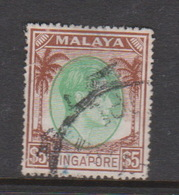 Singapore 35 1949-52 King George VI Definitives $ 5.00 Green And Deep Brown,used - Singapore (1959-...)