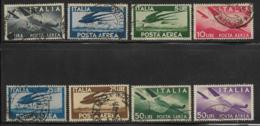 Italy, Scott # C106-7,C109-C114 Used Plane, Hands, Swallows In Flight, 1945-7 - Poste Aérienne