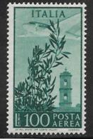 Italy, Scott # C132 MNH Plane Over Tower, 1955 - Poste Aérienne