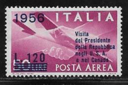 Italy, Scott # C136 Mint Hinged Plane, Hands, Surcharged, 1956 - 1946-.. Republiek