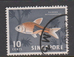 Singapore 72 1962-66 Fishes Orchids And Birds Definitives,10c Ikan Bada Fish Used - Singapore (1959-...)