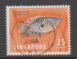 Singapore 76 1962-66 Fishes Orchids And Birds Definitives,25c Two Spots Goramy Fish Used - Singapore (1959-...)
