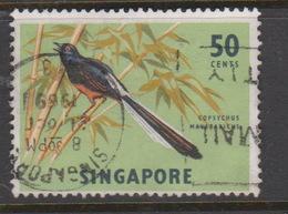 Singapore 78 1962-66 Fishes Orchids And Birds Definitives,50c White-rumped Shama Fish Used - Singapore (1959-...)