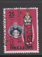 Singapore 110a 1968 Masks And Dances Definitives,25c Lu Chin Shen And Lin Chung,perf 13,used - Singapour (1959-...)