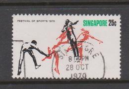 Singapore 145 1970 Festival Of Sports 25c Badminton ,used - Singapore (1959-...)