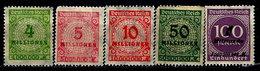 Germany 1923, #284, 285,286 289,310 Unused, LH - Allemagne