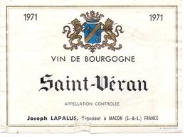 Etiket Etiquette - Vin - Wijn - Bourgogne - Saint Véran - 1971 - Joseph Lapalus - Macon - Bourgogne
