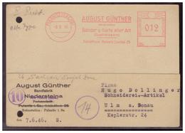 SBZ (006555) Firmenpostkarte A. Günther Bandfabrik, Gelaufen Mit Entnazivizierten Freistempler Plusnitz Am 8.6.1946 - Deutschland