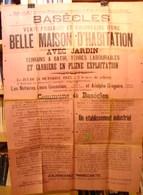 Affiche 2. Basècles. Vente D'une Maison Et D'une Carrière Avec Scierie De Pierres Rue De Grandglise Et Grand'rue En 1935 - Affiches