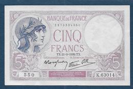 Billet 5 F  Violet  Du 21 - 9 - 1939 - 1871-1952 Anciens Francs Circulés Au XXème