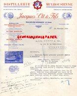 68- MULHOUSE DORNACH- RARE LETTRE DISTILLERIE MULHOUSIENNE-JACQUES OTT & FILS-ANIS PERROT-BITTER DENNLER-MIRABELLE-1938 - Alimentaire