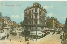 Toulouse 1925; Carrefour Des Rues D'Alsace Lorraine Et Bayard Place Matabiau (Tram) - Voyagé. (Labouche Frères) - Toulouse