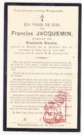 DP Francies Jacquemin ° Ronsele Zomergem 1853 † Beke Waarschoot 1933 X Stephanie Sierens - Images Religieuses