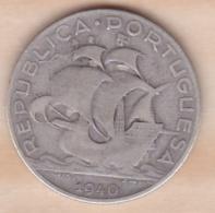 PORTUGAL. 5 ESCUDOS 1940, En Argent - Portugal