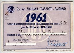TRAM TRAMWAYS BUS - SAST TRASPORTI PALERMO TRAPANI - TESSERA BIGLIETTO TICKET DI ABBONAMENTO 1961 - Season Ticket