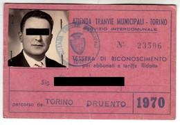 TRAM TRAMWAYS BUS TRANVIE MUNICIPALI TORINO - TESSERA BIGLIETTO TICKET DI ABBONAMENTO 1970 - Season Ticket