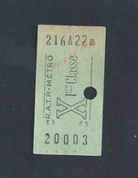 ANCIEN TICKET DE TRANSPORT R A T P METRO X 1ere CLASSE : - Métro