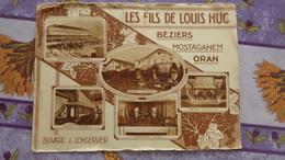 Buvard Les Fils De Louis Huc Vins-exportateur  Béziers, Mostaganem ,Oran , Cave Coopérative Et Wagon Foudre - Agriculture