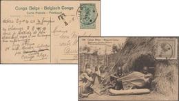 Congo Belge 1924. Entier Postal De Luebo Pour Aurillac, 15 C + 5 C Taxé. Fabricants D'étoffes Wahutu - Entiers Postaux