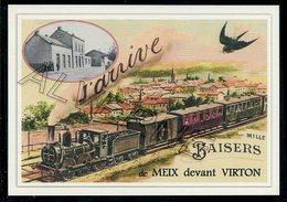 MEIX  Devant  VIRTON  ....  2 Cartes Souvenirs Gare ... Train  Creations Modernes Série Limitée - Virton