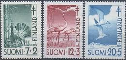 Finnland MiNr. 396-98 - Tuberkolosebekämpfung: Vögel - Postfrisch - Kranichvögel