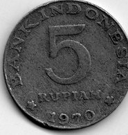 Vreemde Munten - 5 Rupiah 1970 / Indonesia - Indonésie