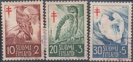 Finnland MiNr. 461-63 - Tuberkolosebekämpfung: Vögel - Gestempelt - Eulenvögel