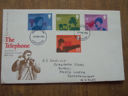 S066: FDC: THE TELEPHONE Invented By ALEXANDER GRAHAM BELL 1876. 8.5p, 10p, 11p, 13p. 10 MAR 1976 Manchester. - FDC