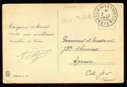 """Oblitération """" Poste Aux Armees 613 """" Sur Carte Postale ( Judaïque) En FM Pour Epoisses En 1927 - N183 - Marcophilie (Lettres)"""