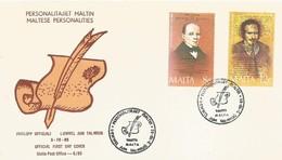 MALTA FDC 1985 PERSONALITIES - Malta